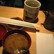 tasty miso soup and hot green tea