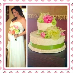 Our wedding cake to match my bouquet.…
