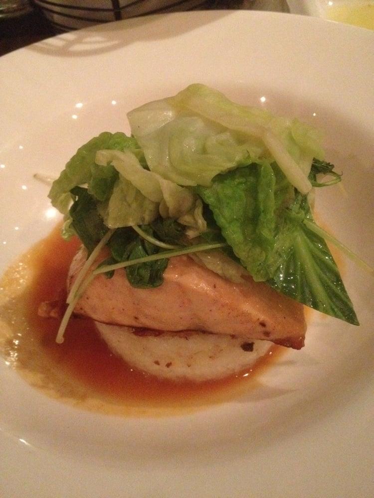 ... United States. Salmon with crispy rice cake and an orange miso sauce