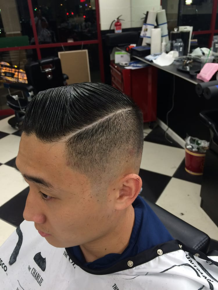 Barber Yelp Advertiser : MJS Onestop Barber Shop - Zero fade comb over with a razor part. Done ...