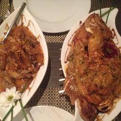 Left: Bebek goreng Sindanglaya (crispy…