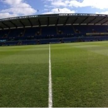 A panoramic photo of the Den, taken pitch side.