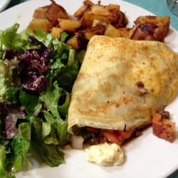 Greek Crepe (Ground beef, peppers, onions and egg)