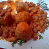 the Roman dish, veal meatball with beans..