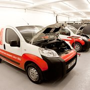Autoparts vans used as part of a Diesel Diagnostics technical training class.