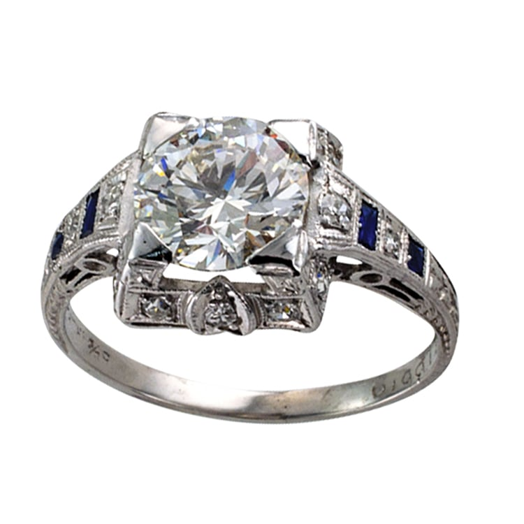 Carats g vs1 art deco engagement ring yelp for Estate jewelry los angeles