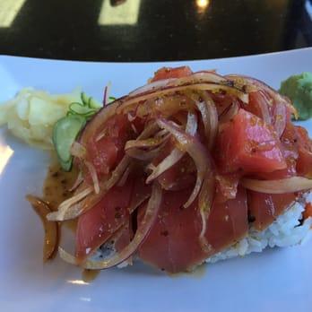 ... States. In n out roll - tuna poke, seared tuna out. Spicy tuna in