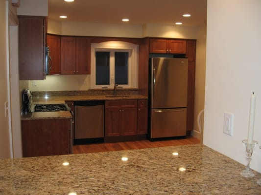 Renovated kitchen with granite counters cherry cabinets amp stainless