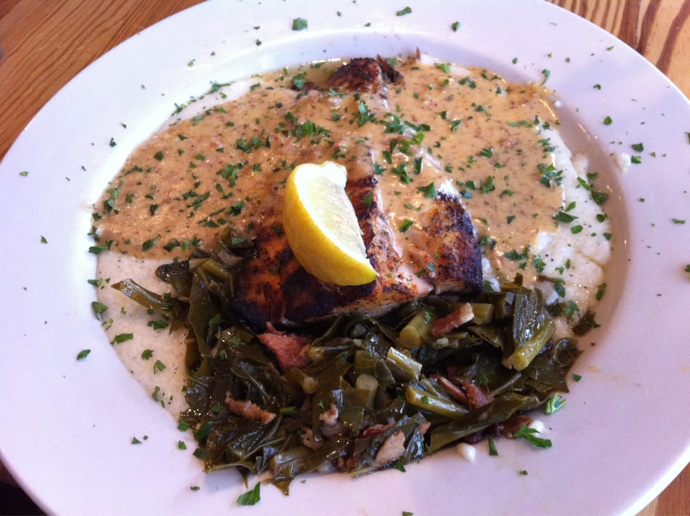 Tasso ham new collard greens cheese grits blackened mahi for Fish and grits near me