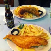 Front: large haddock & chips. Back: large cod and chips