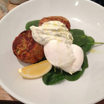 Haddock hash cakes with spinach and poached eggs.