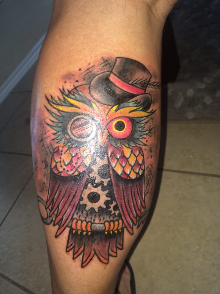 Calf tattoo done by tyler yelp for Texas bobs tattoos