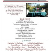 Lakeview Catering Company - Sonora, CA, États-Unis. Catering Flyer for TC Chamber