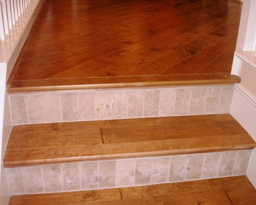 Stairs Made From Hardwood Flooring W Tile Risers Yelp
