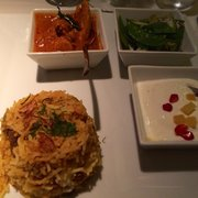 malabar lamb biryani with basmati rice; mangalorean chicken (coconut with asparagus) snow peas, mustard seeds