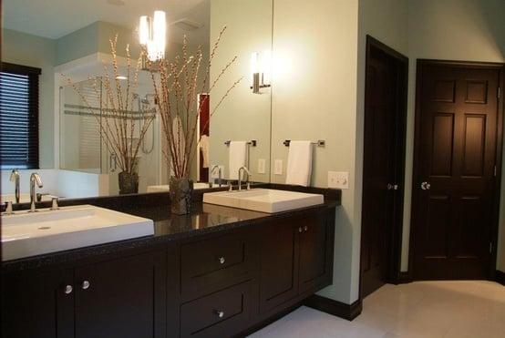 contemporary black maple floating vanity in spa like bathroom
