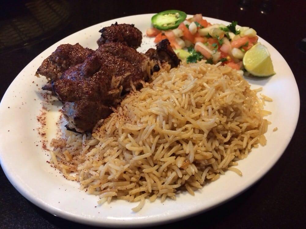 Lamb kabob with afghan brown rice flavored basmati rice for Aryana afghan cuisine