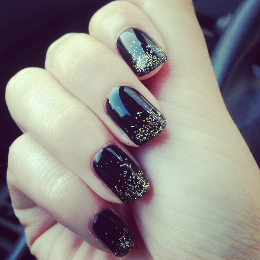 Black Gel Nails With Gold