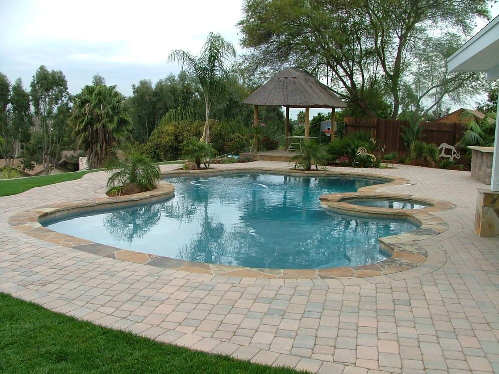 Backyard makeover swimming pool spa resurface new for Backyard makeover with pool
