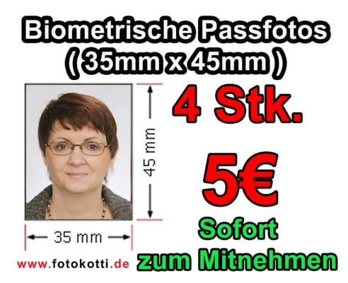 Biometrische Passfotos 5€
