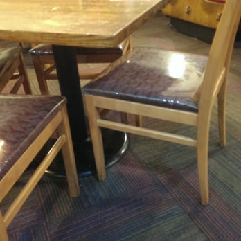 plastic on the furniture makes the place feel cheap food and service