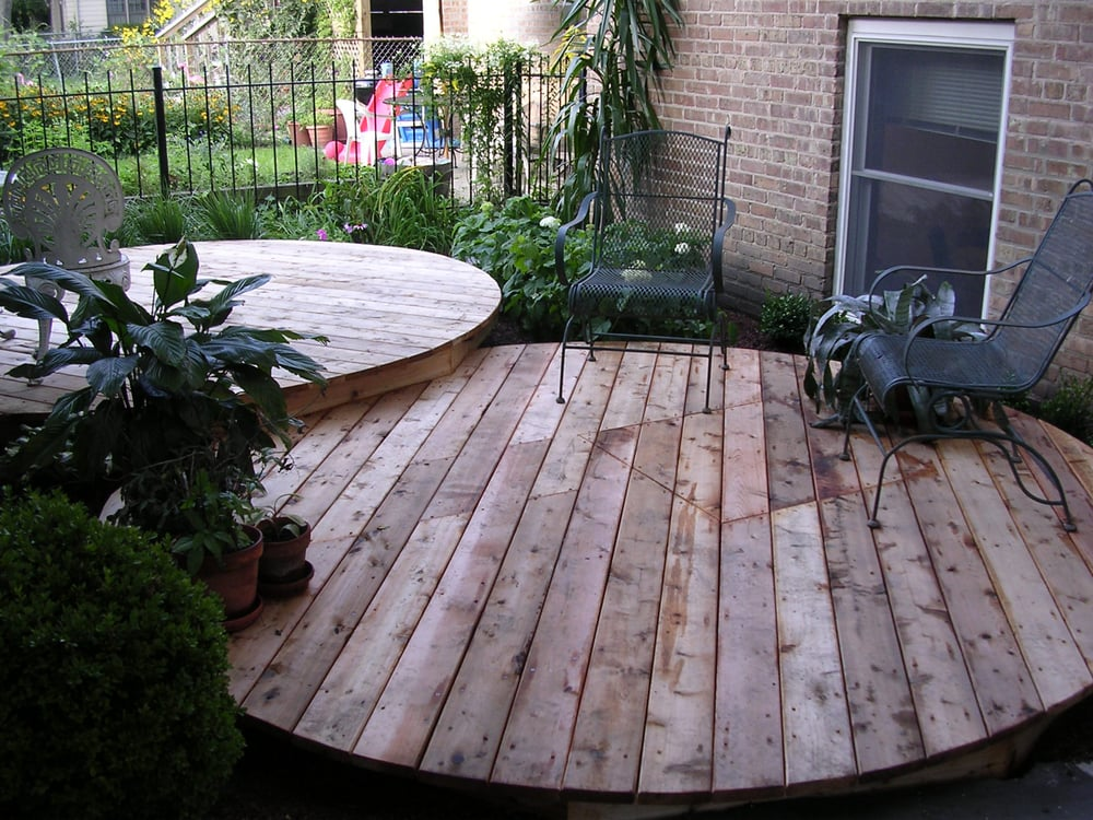 Round floating decks yelp for Circular garden decking