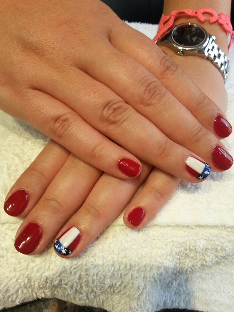 "Gel Color ""Private Lessons"" w/ Flag nail art on manicure by Sunny"