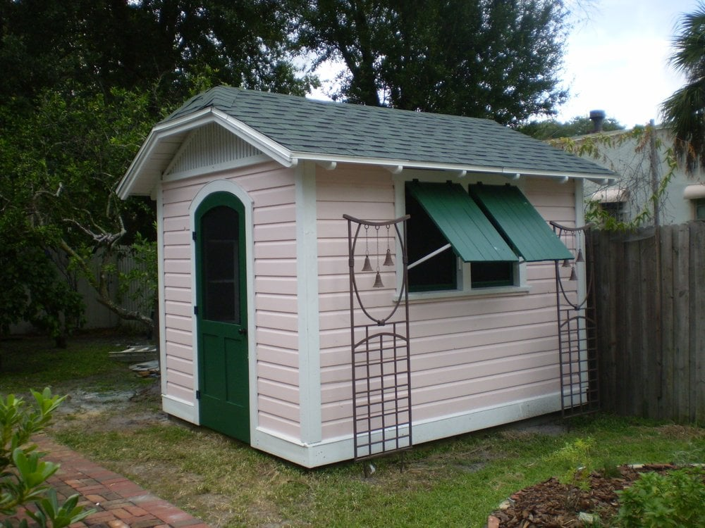 Custom garden shed with clipped gable roof by historic for Sheds in brooksville fl