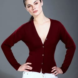 Classic V Neck Cashmere Cardigan for Women