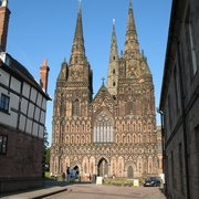 Lichfield Cathedral towering over surrounding buildings