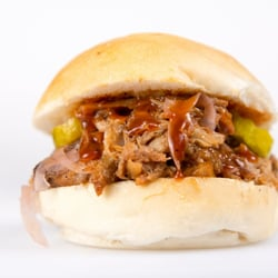 - Pulled Pork Sandwich with Pickles and FunniBonz Pickled Red Onions ...
