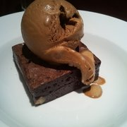 Brownie with salted caramel ice cream