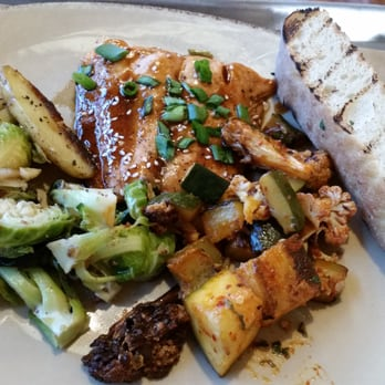 ... , CA, United States. Hoisin teriyaki glazed salmon, Brussel sprouts