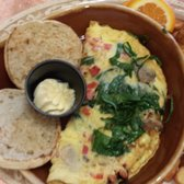 Another Broken Egg Cafe - Veggie omelet with home fries and (underdone) muffin - Charlotte, NC, Vereinigte Staaten