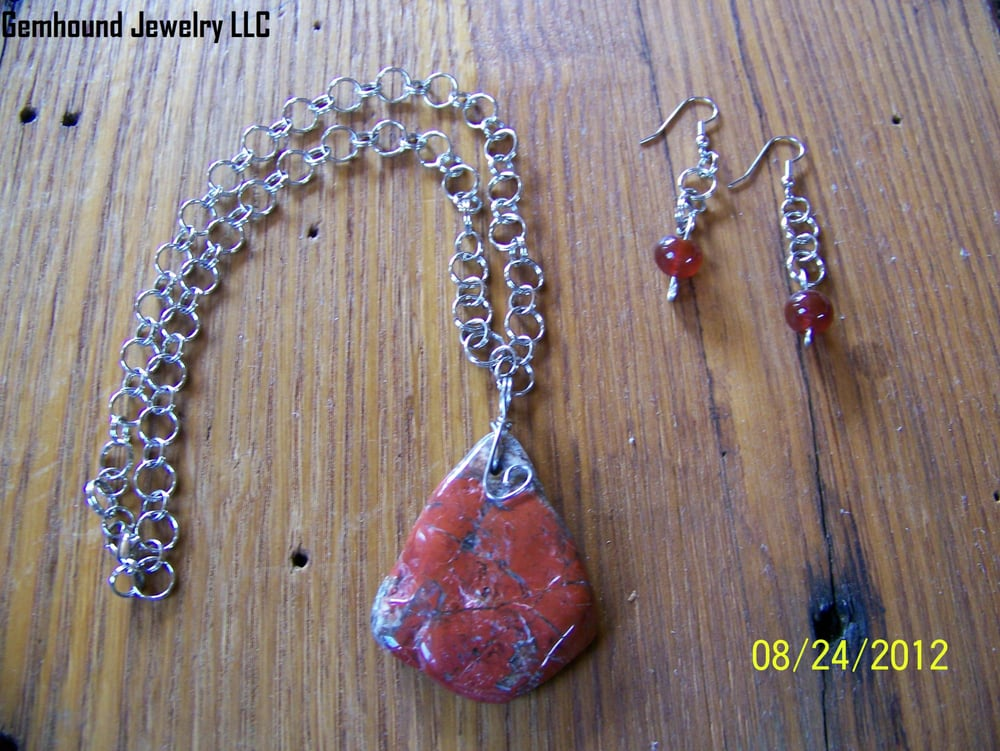 Red jasper with handcrafted chain free shipping yelp for Local handmade jewelry near me