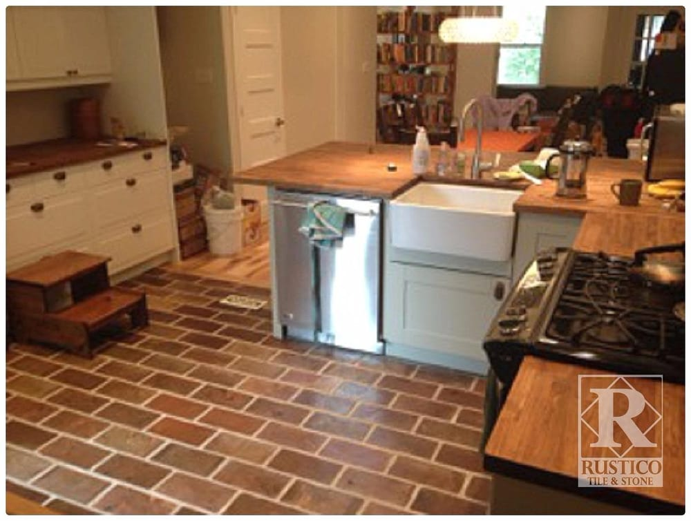 Kitchens with saltillo tile floors