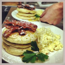 Canadian Pancakes with Crispy Bacon,…
