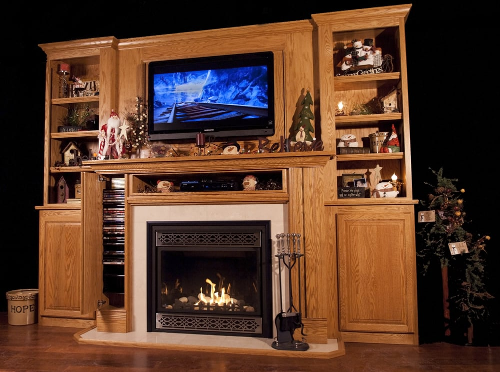 Bookcase with Upper Panel DVD storage in the mantel legs