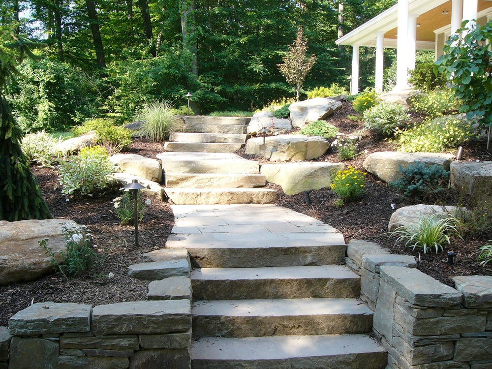 Slab Stone Steps And Stacked Stone Walls Lead To The Front