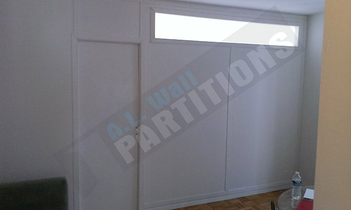 Temporary Wall Partition With A 1 39 X8 39 Stationary Window