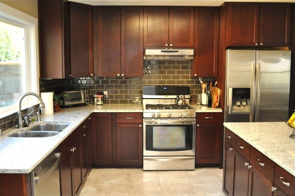 kitchen floor and subway tile backsplash glass tile