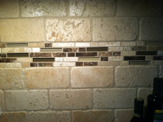 Beautiful glass travertine and marble accent stripe for Travertine accent tile