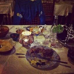Al Mounia - Bordeaux, France. Tajine agneau pruneau sésame et couscous poulet merguez