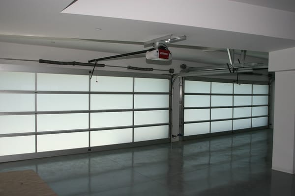 Full View Garage Doors With Frosted Glass Panels And New