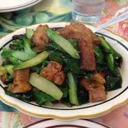 ... Angeles, CA, United States. Crispy pork with sautéed Chinese broccoli