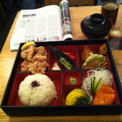 Chicken Kara age bento box & miso soup