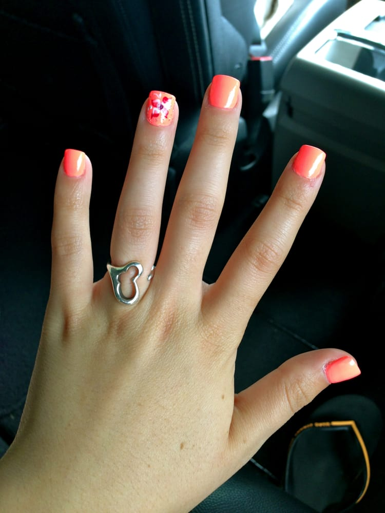 Neon Orange Acrylic Nails Neon Orange Summer Nails With
