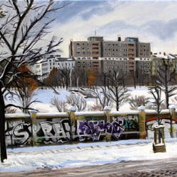 """Görlitzer Park (Winter)"" 2010 (oil painting 60/40 cm)  William Wires"