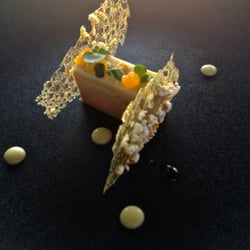 Le Saint James - Restaurant - Bouliac, Gironde, France. Foie gras terrine, cream corn, orange, and popcorn