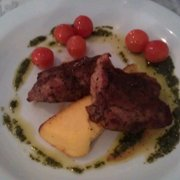 Lamb rump with polenta and cherry tomatoes. Divine.